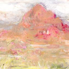 Pink mountain - Spitskoppe in Namibia - original art, mixed media on paper by Annie le Roux