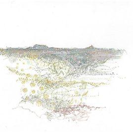 Pointillist landscape of a Karoo landscape by Annie le Roux