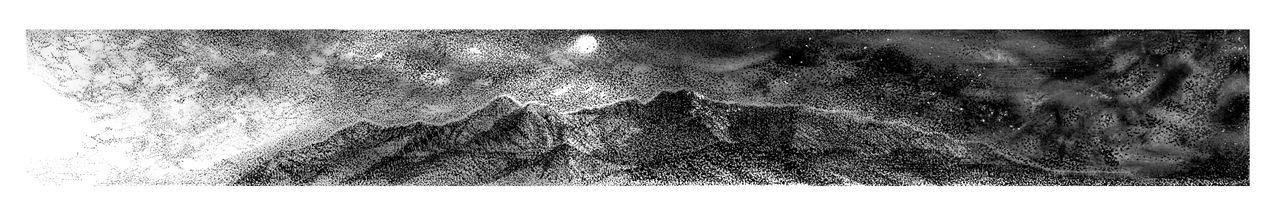 Original ink fine art drawing of the Brandberg mountainscape at night with the moon