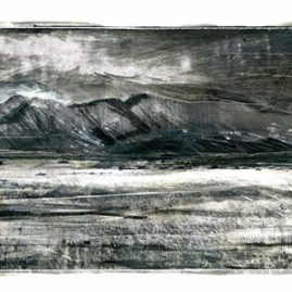 Long landscape in mixed media by Anni le Roux showing the Brandberg
