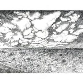Fine Art landscape drawing with ink of the Tankwa Karoo landscape