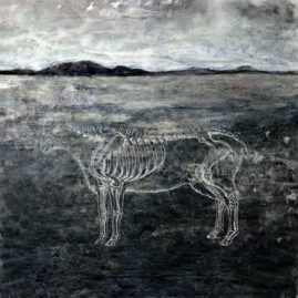 Sheep skeleton on a landscape - fine art by Annie le Roux