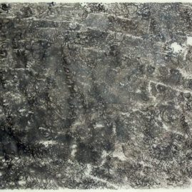 mixed media original artwork by Annie le Roux, showing the reflective water surface of a dam