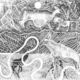 Ink on paper drawing of the Brandberg, song lines, animals and rock art