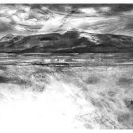 Landscape Fine Art Charcoal drawing of the Brandberg