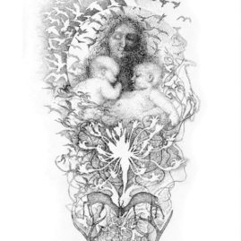 Madonna and two babies with birds and floral seed head - original fine art drawing by Annie le Roux