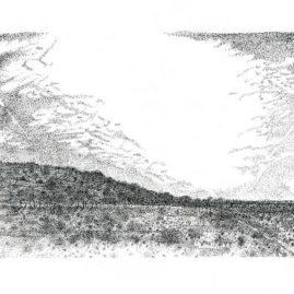 Fine Art landscape ink drawing showing the Tankwa Karoo landscape
