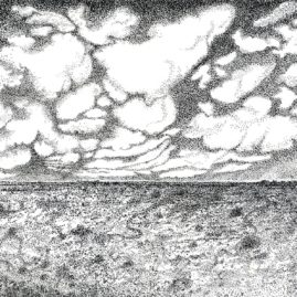 Landscape with clouds of the vlakte of the Tankwa Karoo - ink drawing by Annie le Roux