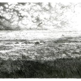 Original Fine Art ink drawing of a landscape by Annie le Roux